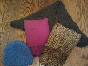 mama's wool hat and wool travel blanket and then a wool scarfs for wrapping up in at night