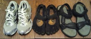 the shoes--Mizunos, Vibrams and grandmas Tevas