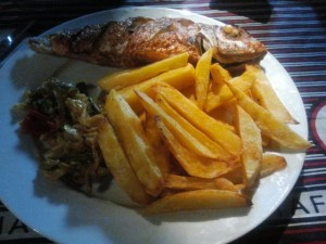 fish, salad and chips